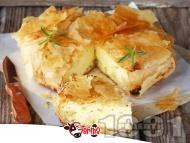 Бърза, лесна, пухкава и вкусна баница с готови кори, яйца, сирене и газирана вода